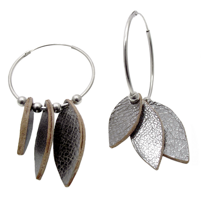 leather and silver sterling earrings