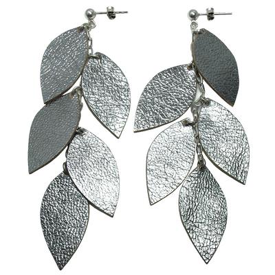 boucles d'oreilles pendantes cuirs et argent 925