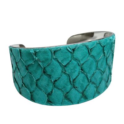 Bracelet manchette tilapia bleu brillant det