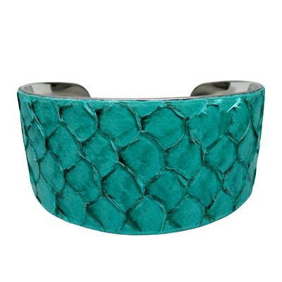 Bracelet manchette tilapia bleu brillant