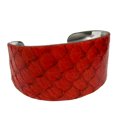 Bracelet manchette tilapia orange brillant det