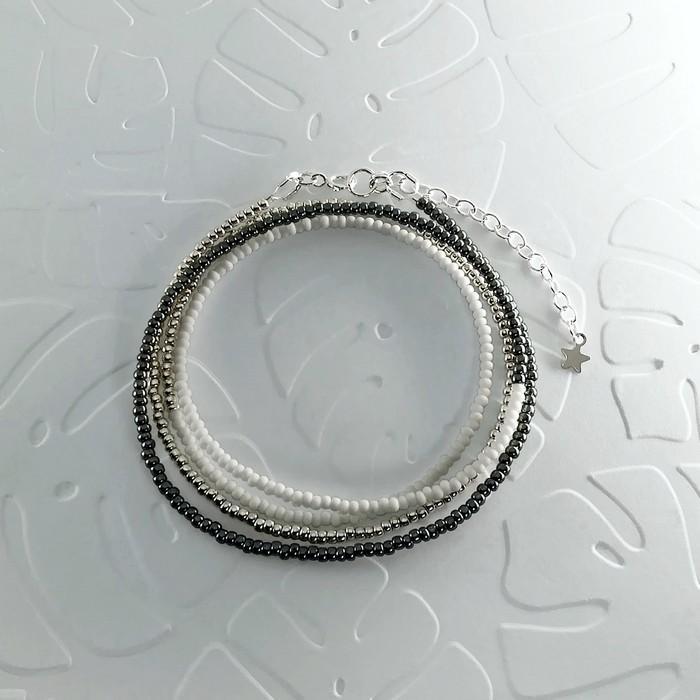 Bracelet wrap diego noir metal 0 0 700