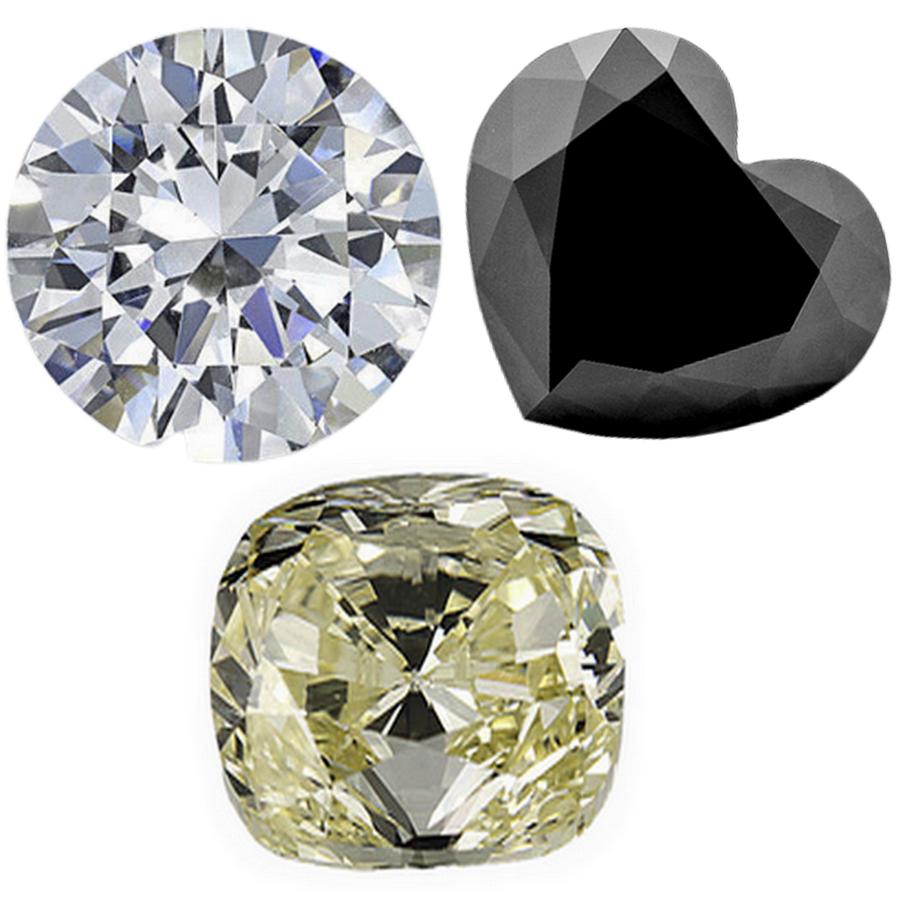 diamant blanc, diamant fancy et diamant noir