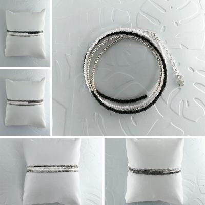 Bracelets wrap/collier Diego les noirs & gris